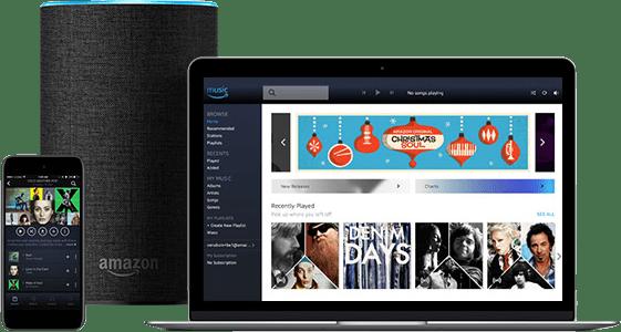Amazon Music est disponible sur de nombreux appareils : ordinateurs, smartphones, enceintes connectées...