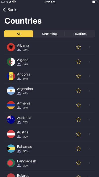 Plus de 89 pays sont accessibles dans l'application