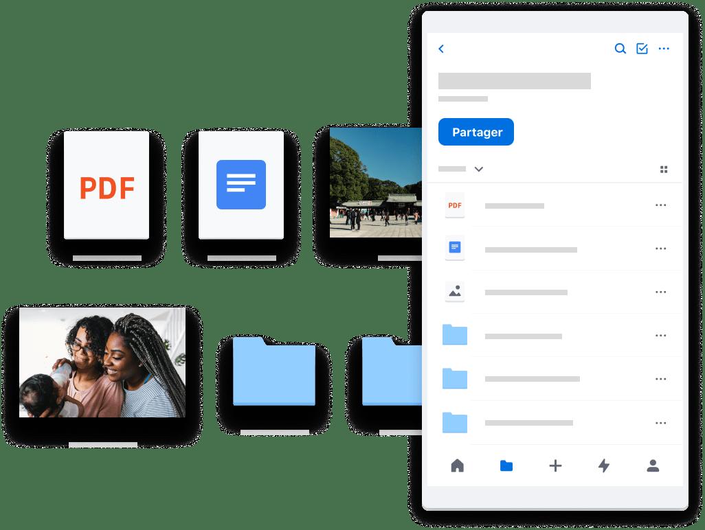 Dropbox stocke vos fichiers et données de façon sécurisée dans le Cloud. Un simple clic permet de les partager avec des proches.