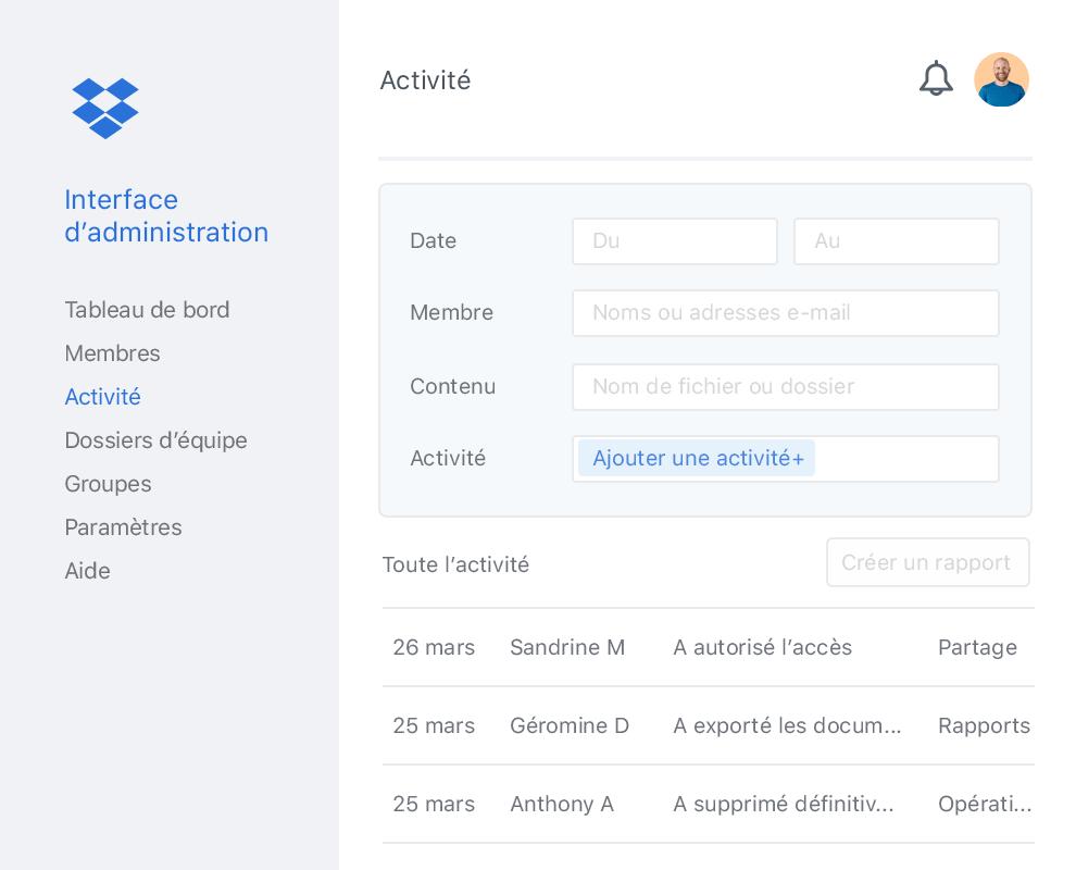 L'interface d'administration de Dropbox est exemplaire en matière d'expérience utilisateur