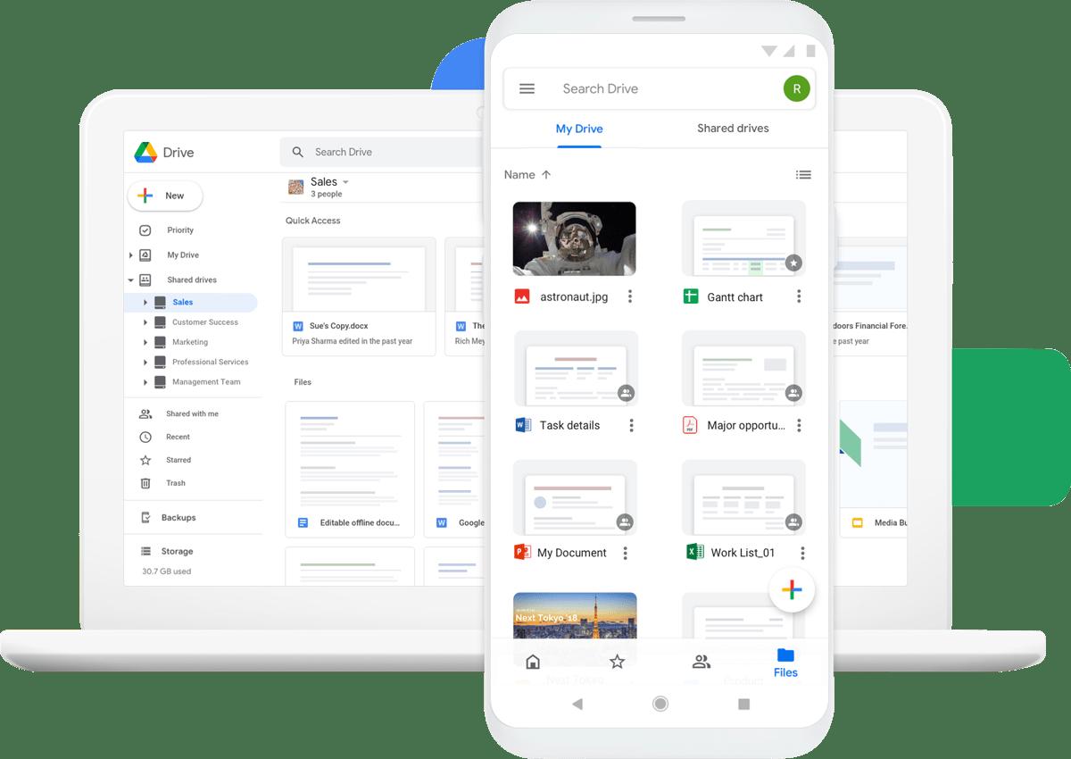 Google Drive fonctionne en étroite relation avec les autres services Google, dont Docs