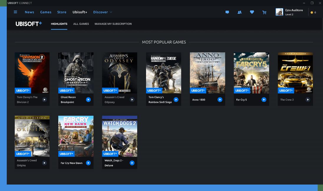 L'espace abonné Ubisoft+ est intégré au client Windows de l'éditeur. Il nécessite de télécharger les titres en local pour y jouer.