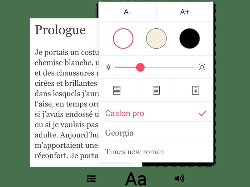 Aperçu des réglages du texte sur l'application mobile