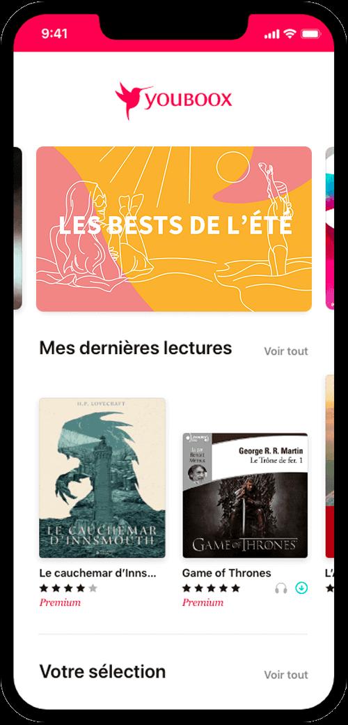 L'application iOS Youboox sur un iPhone récent